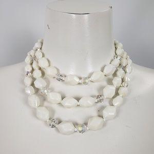 Three Strand White Vintage Beaded Necklace